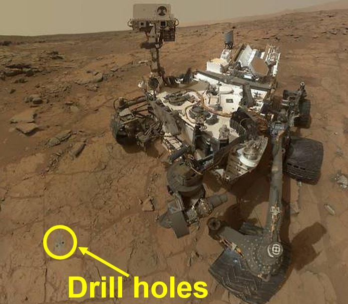 Curiosity Rover drill holes