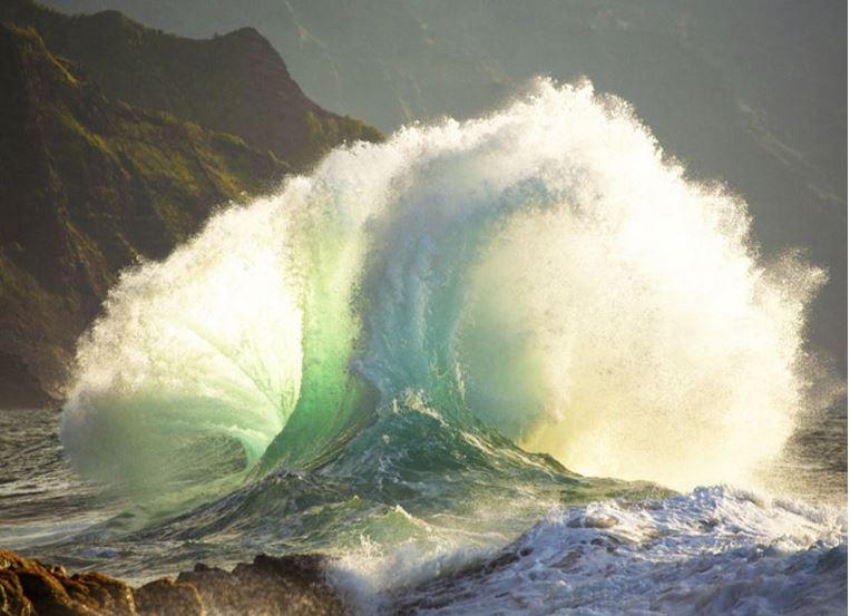 Sea waves colliding