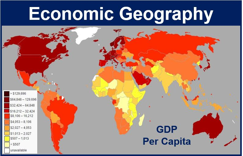 World map to represent economic geography and comparing GDP Capita across the world