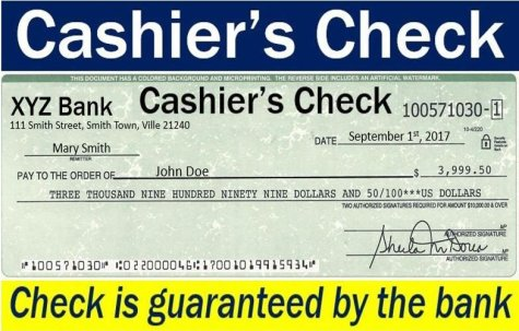 Cashier's check - guaranteed by the bank