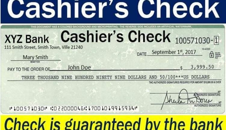 Cashier's check - guaranteed by the bank