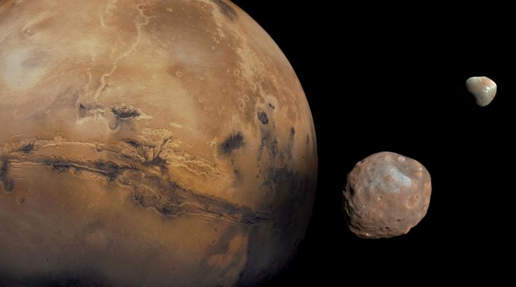 Mars and two moons