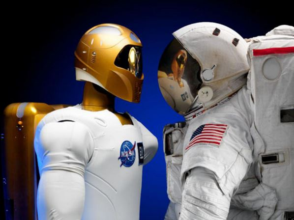 Space crew with humanoid robot