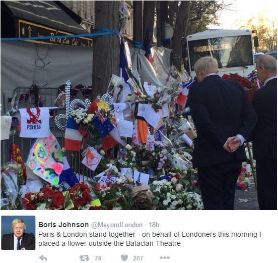 Boris Johnson and British Ambassador remembering Paris victims