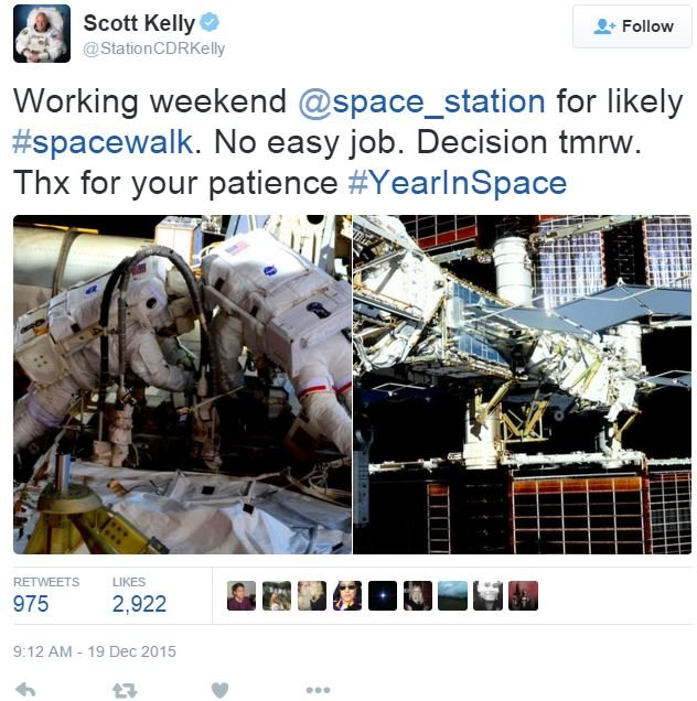 Scott Kelly Twitter message regarding spacewalk