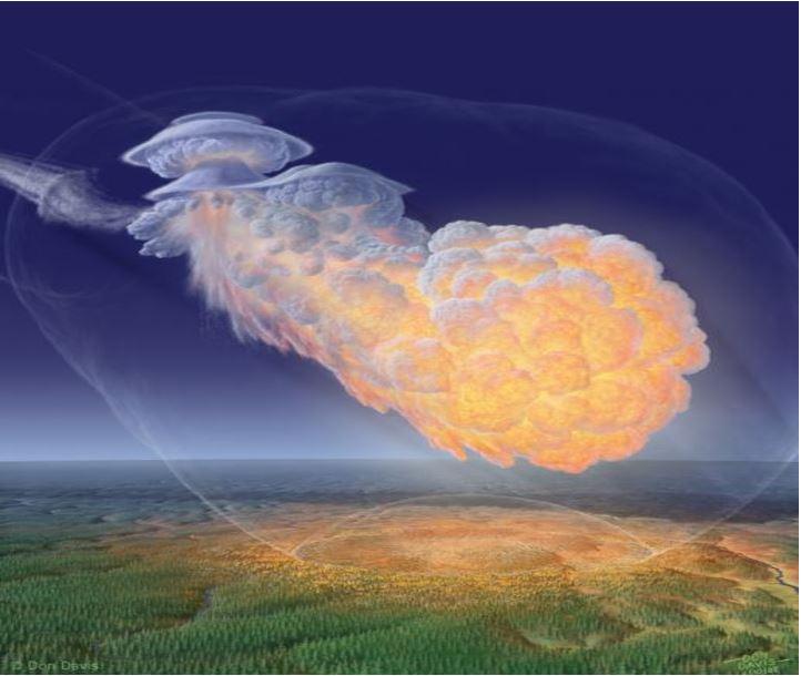 Artist impression of the Tunguska explosion