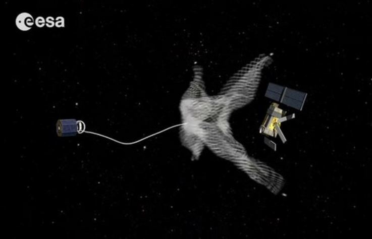 Catching space junk using a large net