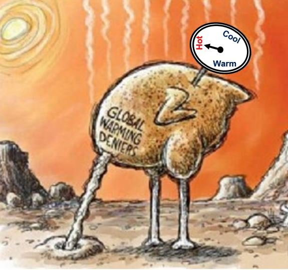 Global warming deniers like ostriches
