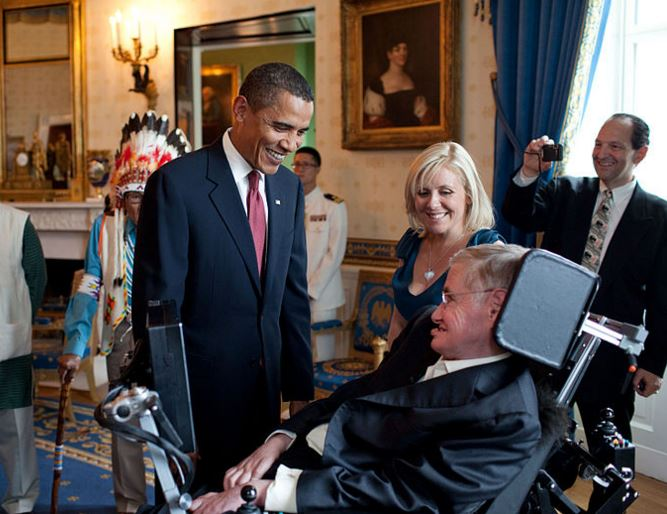 Hawking with President Barack Obama