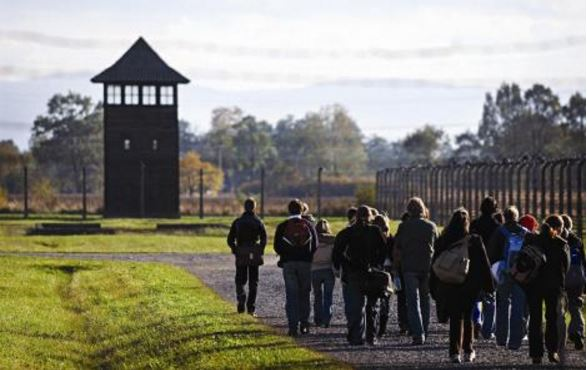 Holocaust teaching students on a school trip to Auschwitz