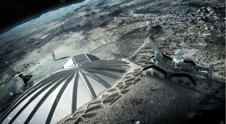 Moon base being constructed using 3 D printer