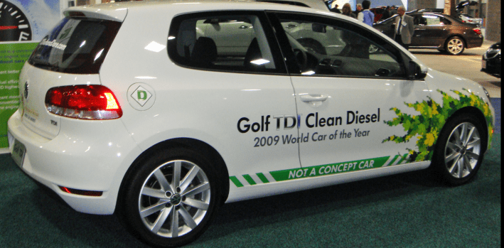"2010 VW Golf TDI with defeat device displaying ""Clean Diesel"" at a US auto show"