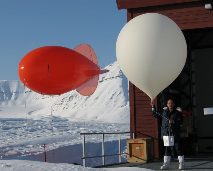 Launching ozone monitoring weather balloons