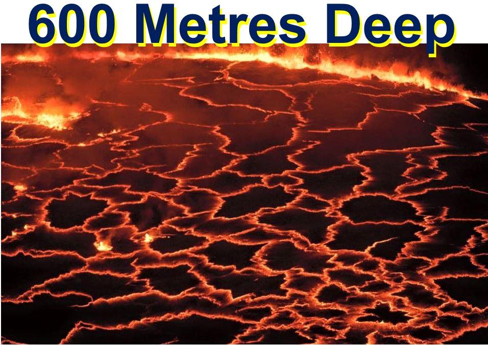 Six hundred metre deep lava lake