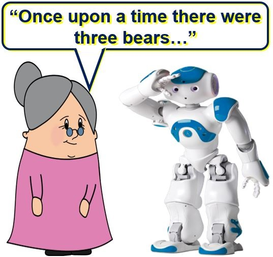 Telling a robot fairy tales