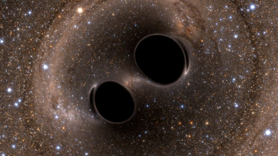 Two black holes collide and produce gravitational waves