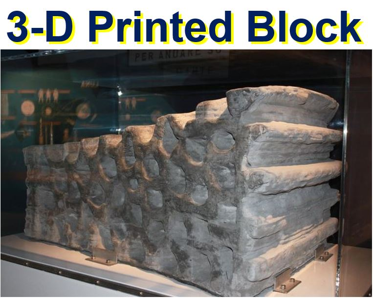 Block made with a 3D printer