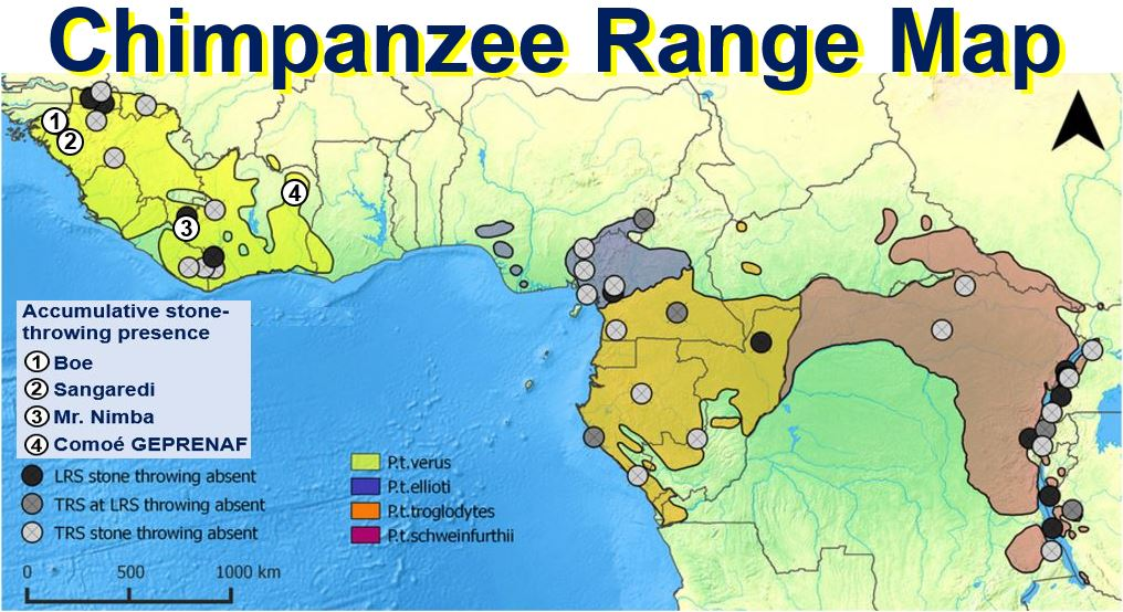 Chimpanzee ranges in West Africa