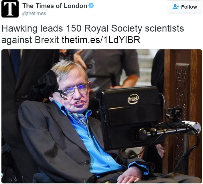 Times Letter Brexit warning Hawking and Scientists