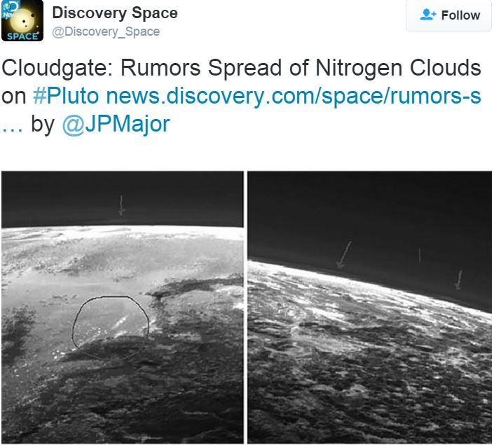 Twitter talk about clouds on Pluto