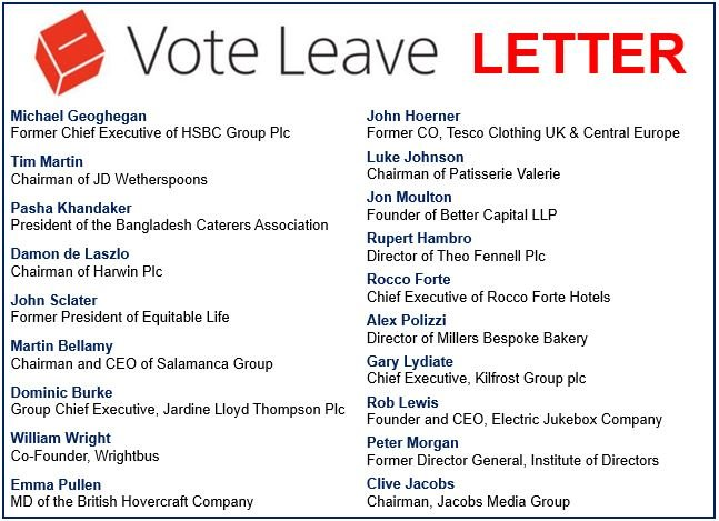 Vote Leave Letter
