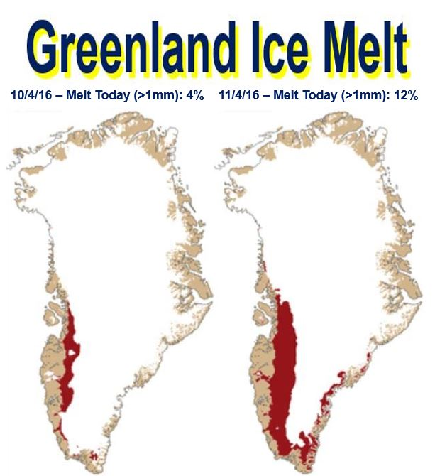 Greenland ice melt two days