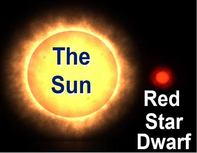 Our sun versus a red dwarf star
