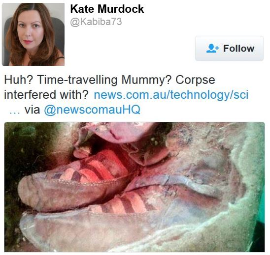 Twitter comment on Adidas boots in ancient mummy