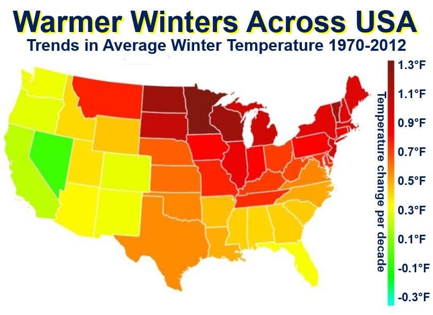Warmer winters across the USA
