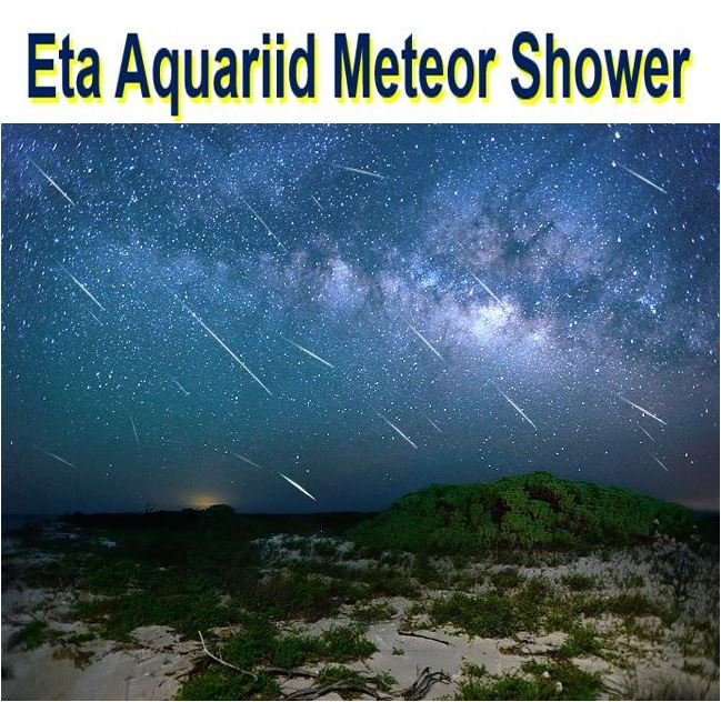 shooting stars from eta Aquariid meteor shower