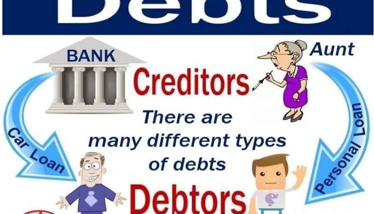 Debts - image showing creditors and debtors