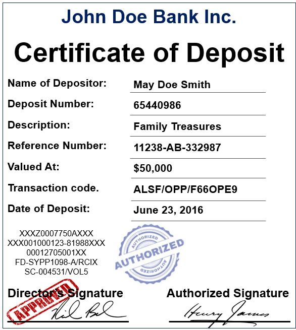 Example Of Certificate Of Deposit Market Business News