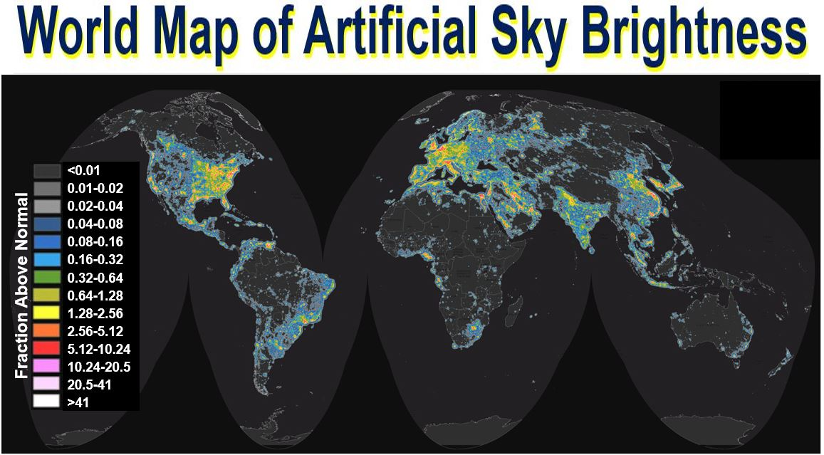 World map of artificial sky brightness