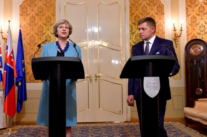 Theresa May in Slovakia post Brexit vote visit