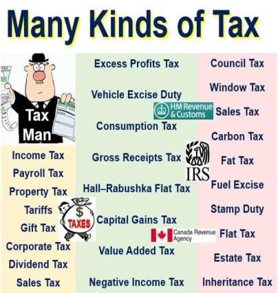 Many kinds of tax