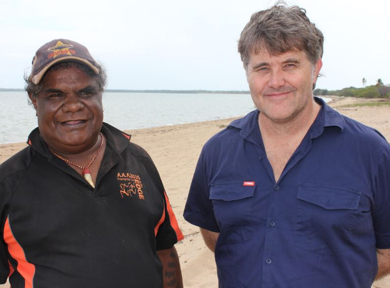 Elder Thomas Wales and researcher Dr Michael Westaway in Mapoon