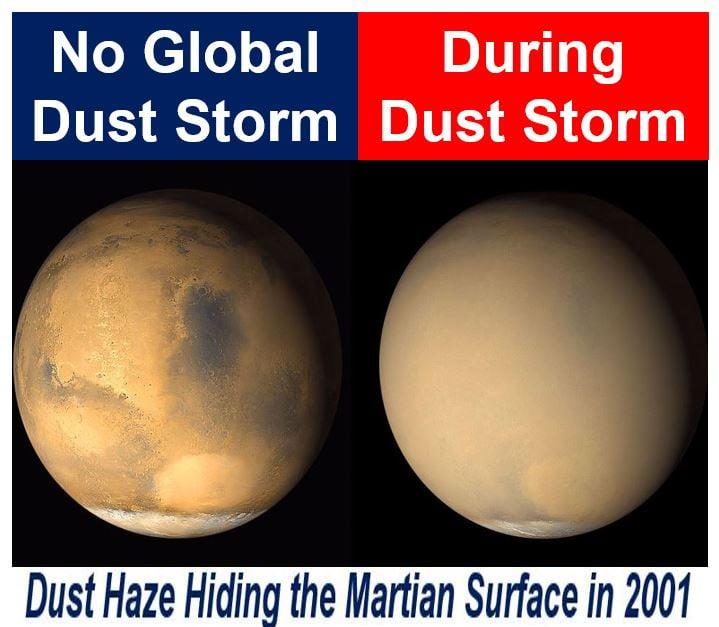 Haze from global dust storm hiding Martian surface