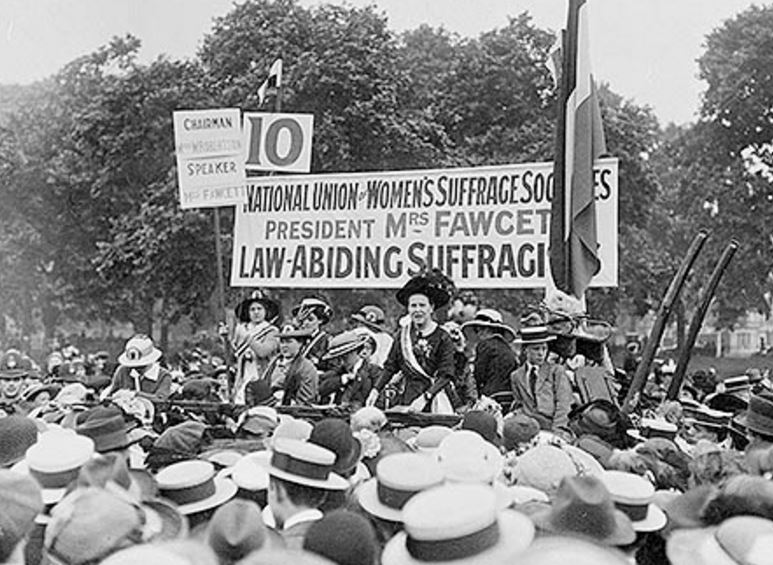 Millicent Fawcett addressing a meeting outdoors