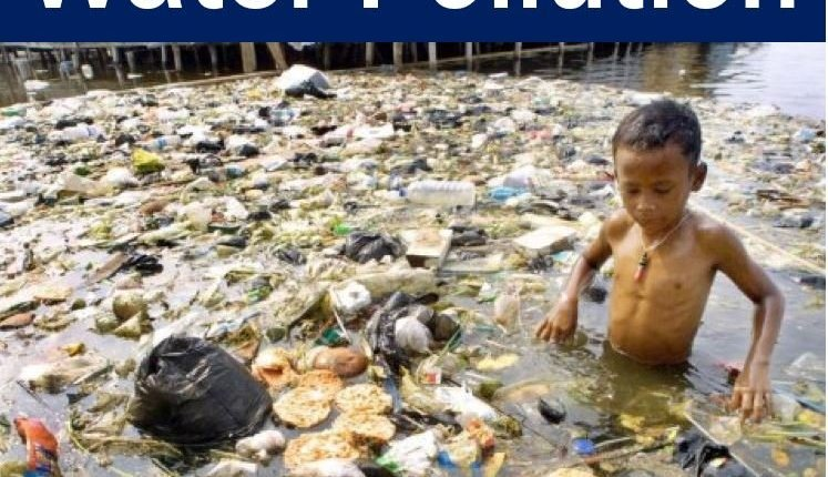 Water pollution - child in filthy water