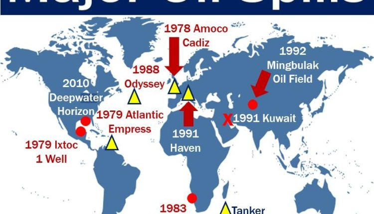 Oil spill history – image showing major ones on map