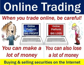 Online trading - image explaining meaning and warning
