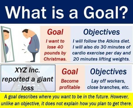 Goal - definition and examples vs objectives