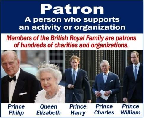 Patron - British Royal Family are patrons of many organizations