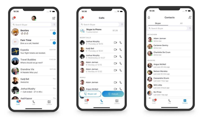 Skype mobile app UI redesign