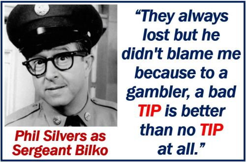Phil Silvers talking about a tip - image