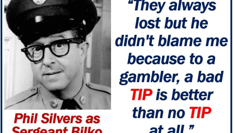 Phil Silvers talking about a tip – image