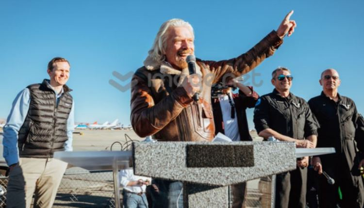 Richard Branson celebrating first spaceflight