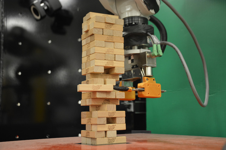 A robotic arm has been taught to play Jenga
