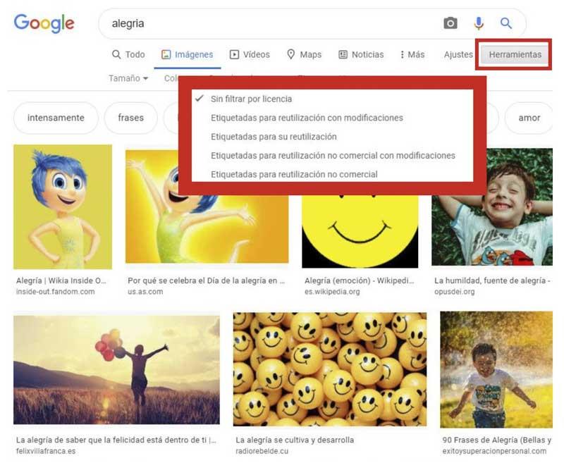 Buscar imágenes filtrar las imágenes por derechos de uso