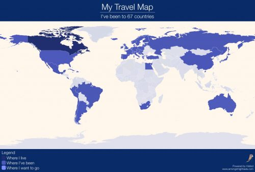toronto canada march 29 2017 marketersmedia traveling the world is an ambition many people hold and visited personalized world map travel app